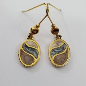 Vintage Kenneth Cole Earrings KC Swirl Brown Gold